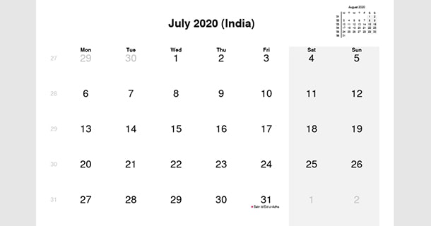 July 2020 Calendar with India Holidays