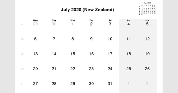 July 2020 Calendar with New Zealand Holidays