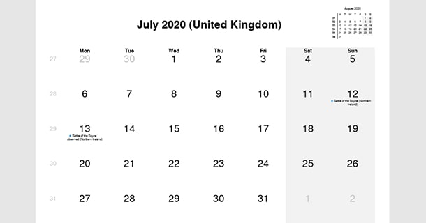 July 2020 Calendar with UK Holidays