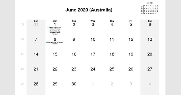 June 2020 Calendar with Australia Holidays