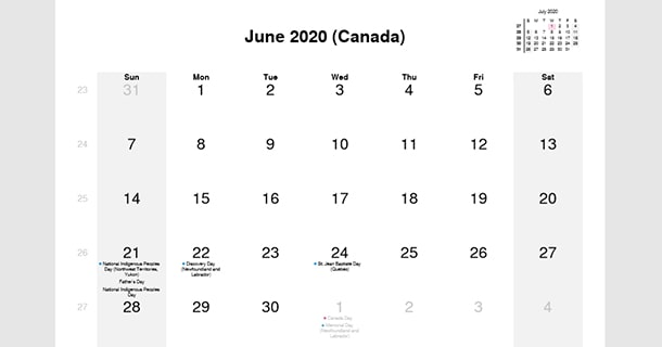 June 2020 Calendar with Canada Holidays
