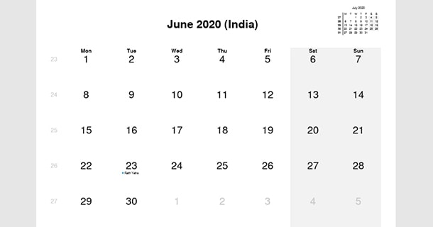 June 2020 Calendar with India Holidays