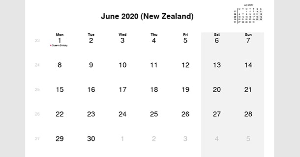 June 2020 Calendar with New Zealand Holidays