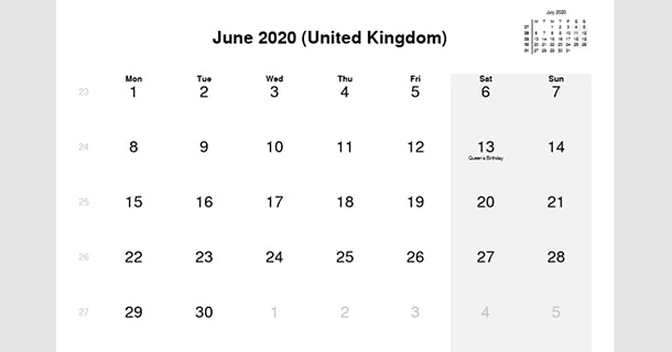 June 2020 Calendar with UK Holidays