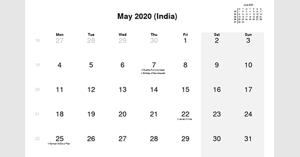 May 2020 Calendar with India Holidays
