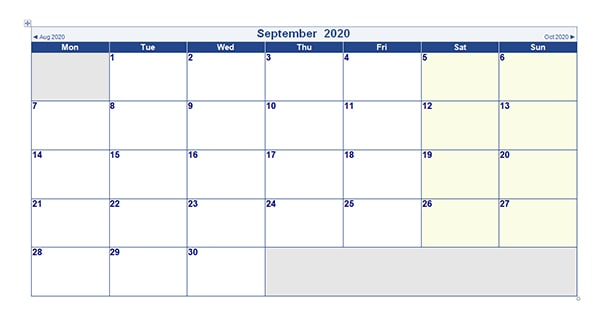 Printable September 2020 Calendar Word