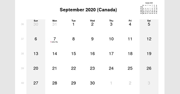 September 2020 Calendar with Canada Holidays
