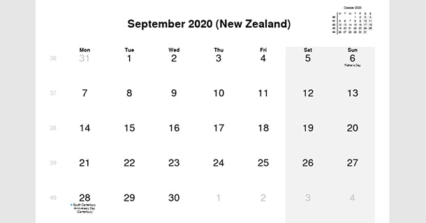 September 2020 Calendar with New Zealand Holidays