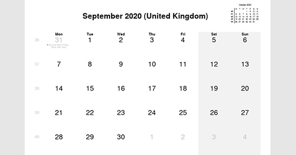September 2020 Calendar with UK Holidays
