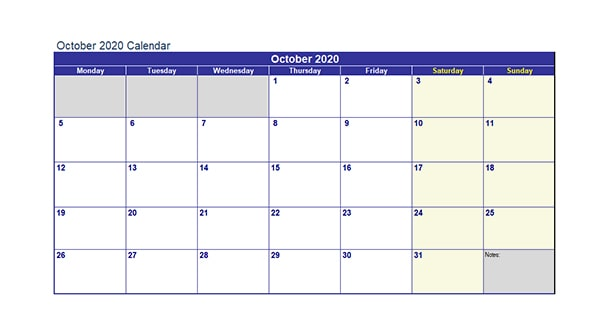 Blank Template October 2020 Calendar Excel