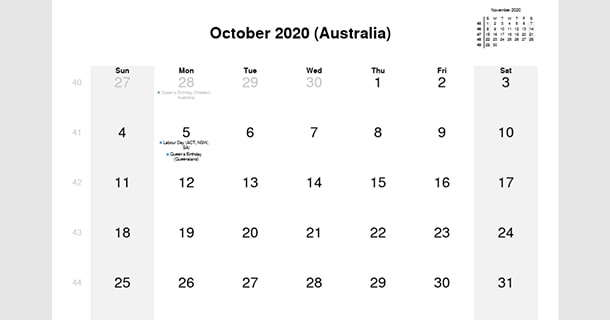 October 2020 Calendar with Australia Holidays