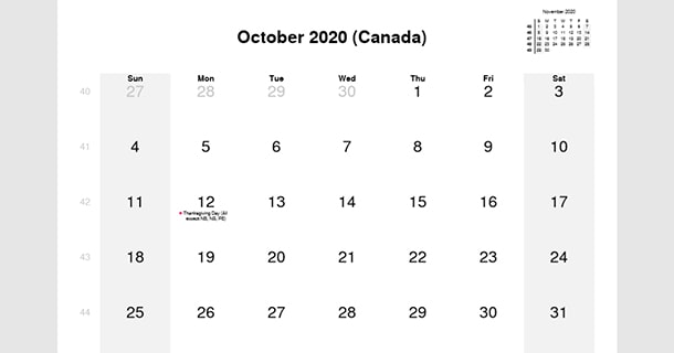 October 2020 Calendar with Canada Holidays