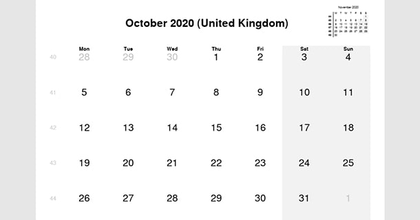 October 2020 Calendar with UK Holidays