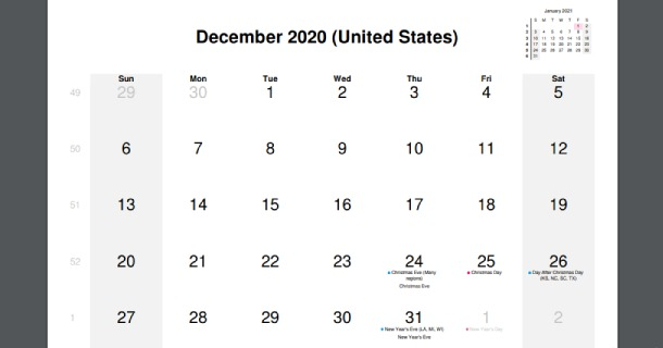 December 2020 Calendar with US Holidays
