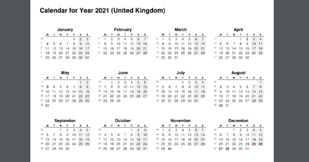 2021 Full Year Calendar with UK Holidays