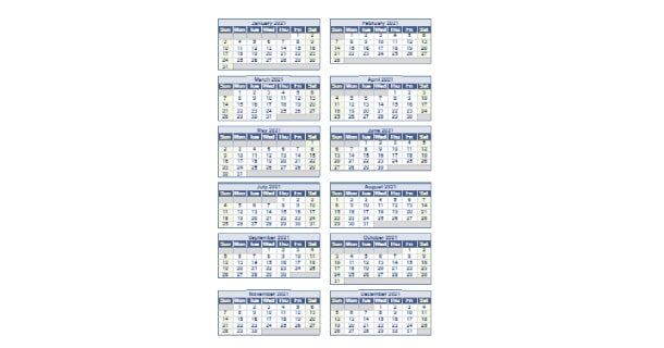 Editable 2021 Full Year Calendar Excel