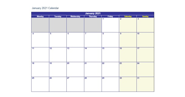 Editable January 2021 Calendar Excel