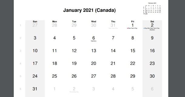 January 2021 Calendar with Canada Holidays