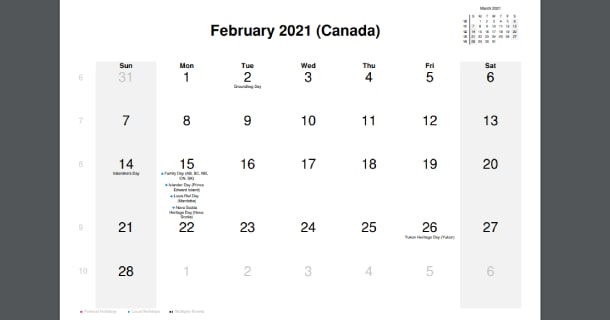 February 2021 Calendar with Canada Holidays