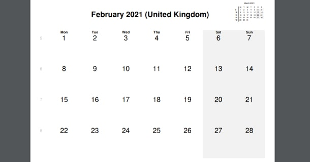 February 2021 Calendar with UK Holidays