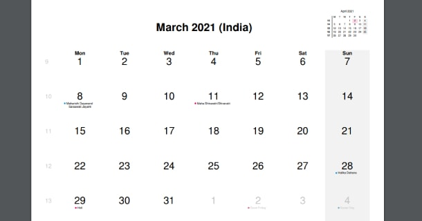 March 2021 Calendar with India Holidays