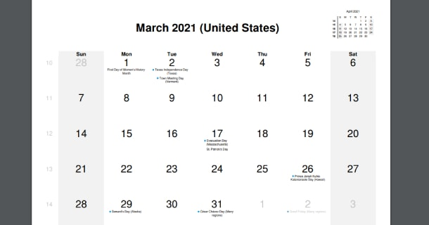 March 2021 Calendar with US Holidays