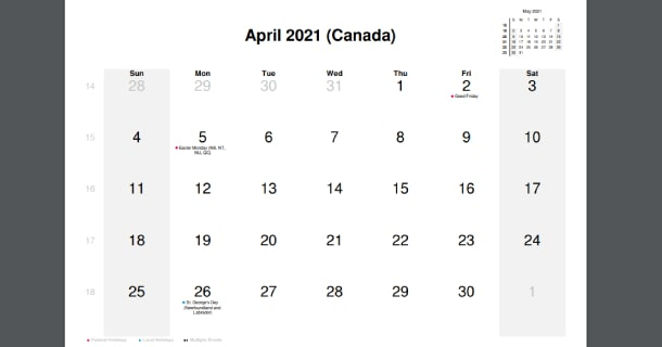 April 2021 Calendar with Canada Holidays