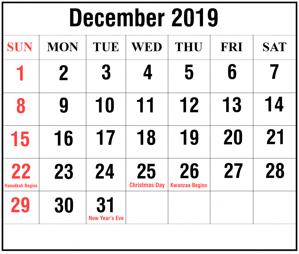 Free Blank December Calendar Printable In Word