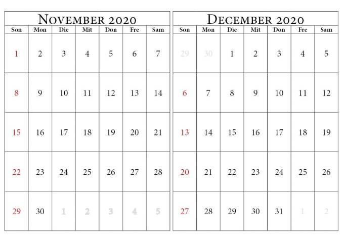 november dezember 2020