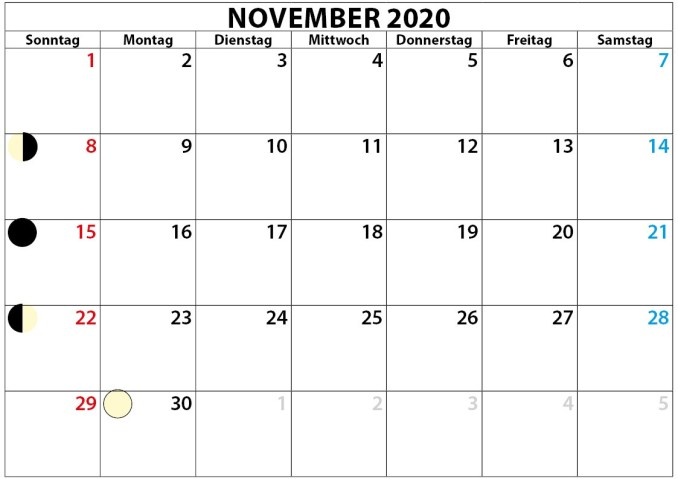 November kalender mit Mondphase