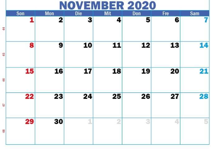 de monatskalender november 2020