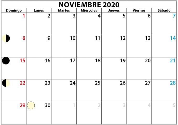 mes de noviembre calendario