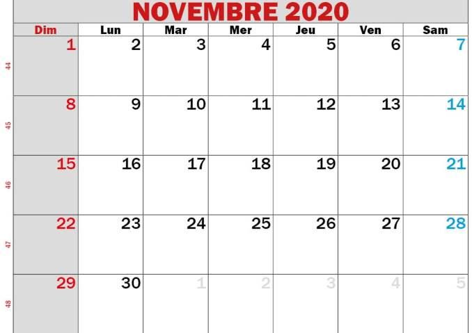 calendrier novembre 2020 à imprimer