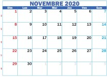 Calendrier novembre 2020