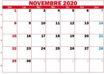 calendrier novembre 2020 à imprimer rouge