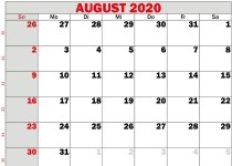 kalender 2020 august