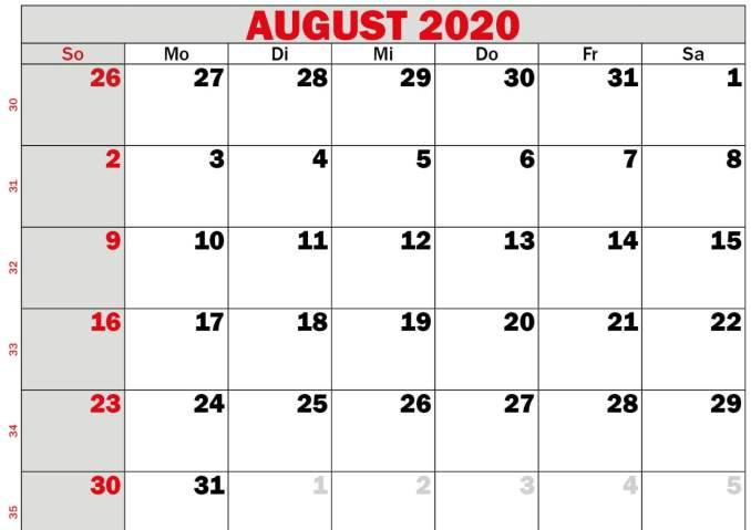 monat august 2020
