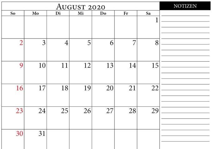 monatskalender august 2020