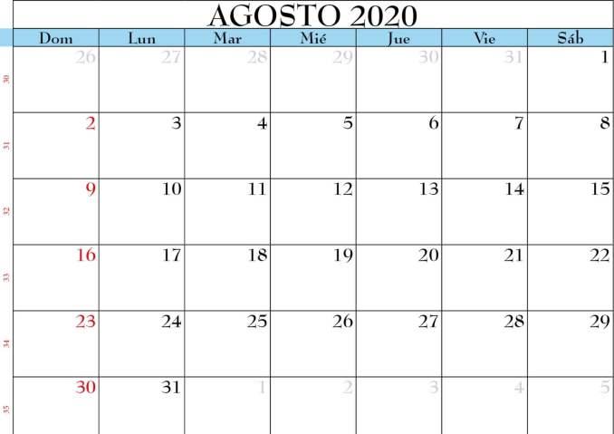 calendario de agosto 2020