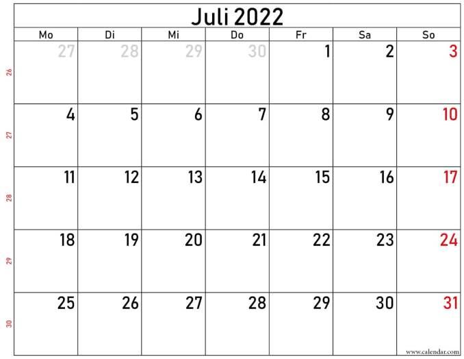 juli 2022 kalender