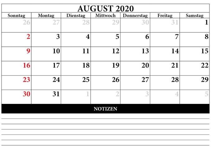 2020 August Calendar Cute