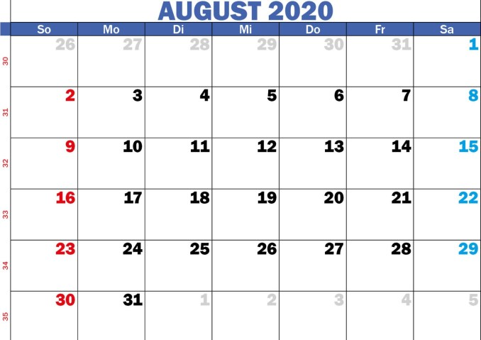 2020 August Calendar Template