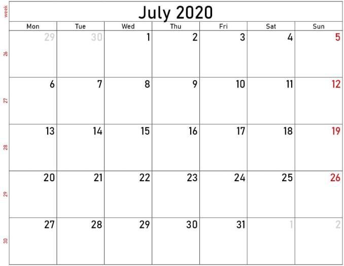 Download July calendar 2020