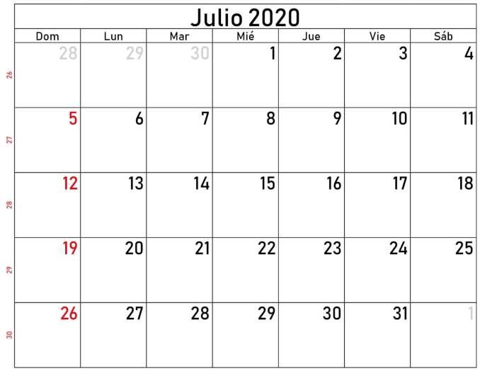 julio 2020 calendario