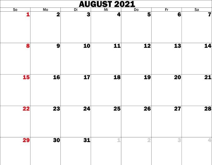 august kalender 2021
