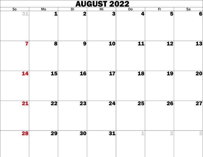 august kalender 2022