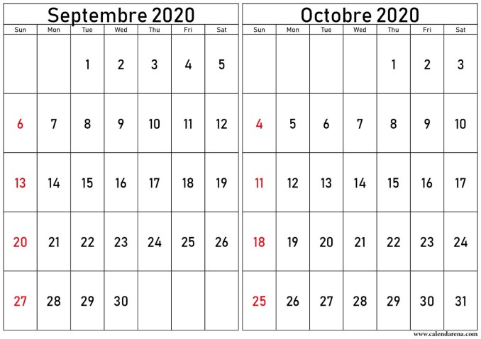 calendrier septembre octobre 2020