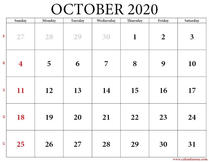 calendar 2020 october with weeks