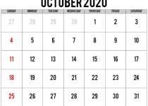 calendar october 2020