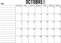 Calendrier octobre 2020 à imprimer gratuit
